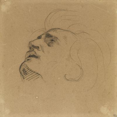 Tête d'homme renversé en arrière-Eugene Delacroix-Giclee Print