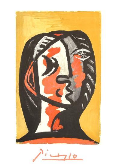 Tete de Femme en Gris et Rouge sur Fond Ochre-Pablo Picasso-Collectable Print