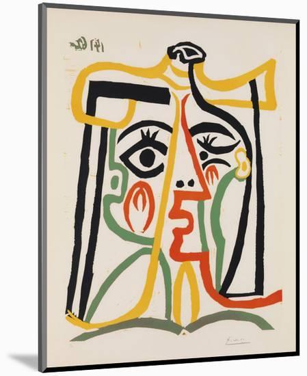 Tete de femme-Pablo Picasso-Mounted Art Print