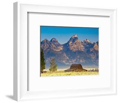 Teton Front Range and Mormon Barn at Sunrise, Grand Teton National Park, Wyoming, Usa-Mark Williford-Framed Photographic Print