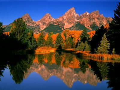 Teton Range in Autumn, Grand Teton National Park, WY-Russell Burden-Photographic Print