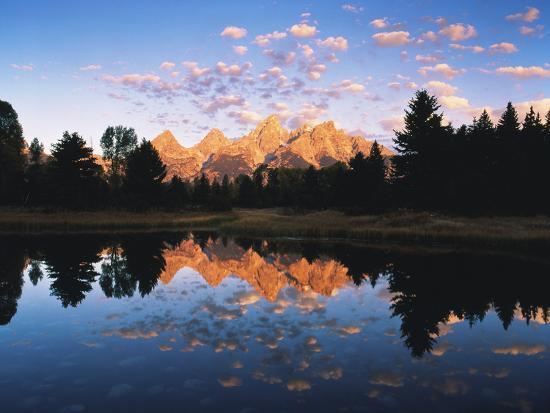 Teton Range Reflecting in Beaver Pond, Grand Teton National Park, Wyoming, USA-Adam Jones-Photographic Print