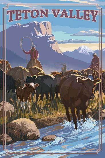 Teton Valley, Idaho - Cowboy Cattle Drive Scene-Lantern Press-Art Print
