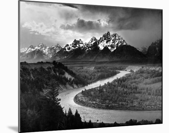 Tetons and The Snake River, Grand Teton National Park, c.1942-Ansel Adams-Mounted Art Print