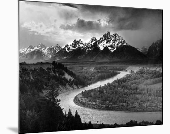Tetons and The Snake River, Grand Teton National Park, c.1942-Ansel Adams-Mounted Print