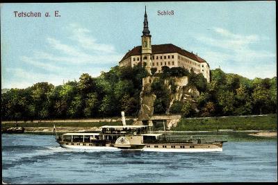 Tetschen Ústecký Kraj, Dampfer König Albert, Schloß--Giclee Print