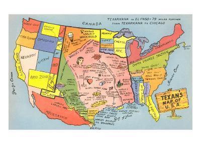 Texan's Map of US--Art Print