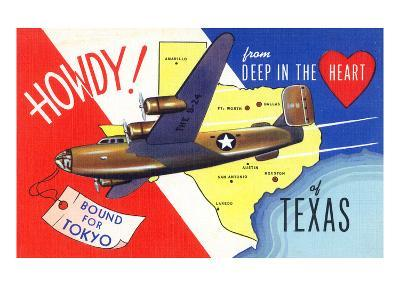Texas - B-24 Howdy, Bound for Tokyo WWII Promo-Lantern Press-Art Print