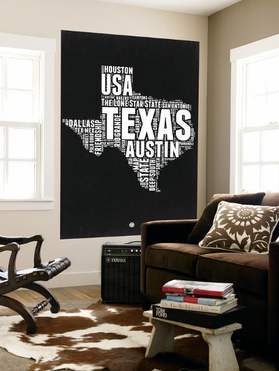 Texas Black and White Map-NaxArt-Wall Mural