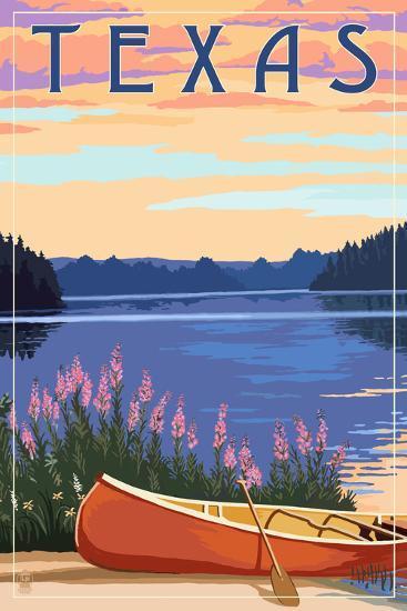 Texas - Canoe and Lake-Lantern Press-Art Print