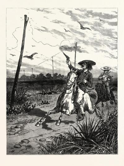 Texas: Cattle Herders Indulging in Revolver Practice on Telegraph Insulators--Giclee Print