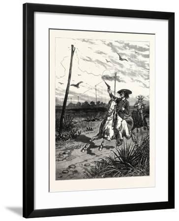 Texas: Cattle Herders Indulging in Revolver Practice on Telegraph Insulators--Framed Giclee Print
