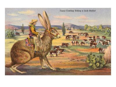 Texas Cowboy Herding from Jack Rabbit--Art Print