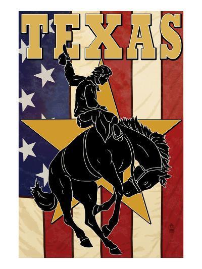 Texas - Cowboy with Bucking Bronco-Lantern Press-Art Print