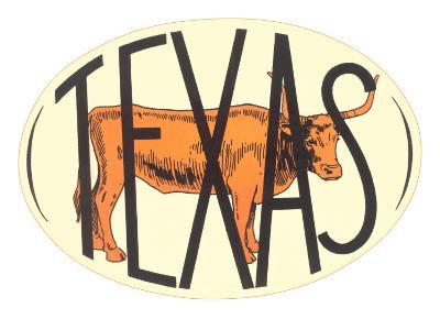 Texas Decal with Longhorn Steer--Art Print