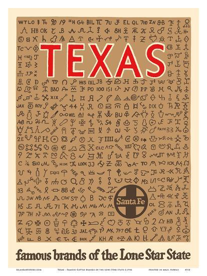 Texas - Famous Cattle Brands of the Lone Star State - Santa Fe Railroad-Pacifica Island Art-Art Print