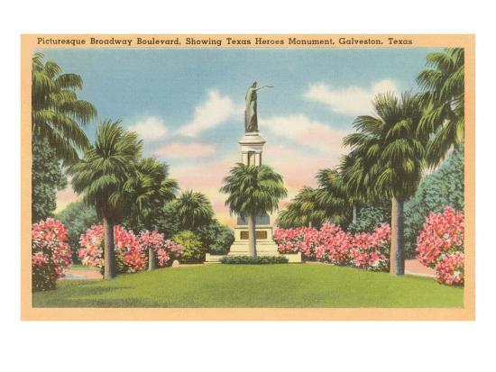 Texas Heroes Monument, Galveston, Texas--Art Print