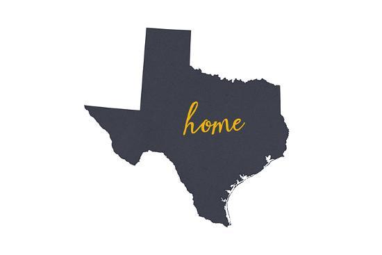 Texas - Home State - Gray on White-Lantern Press-Art Print
