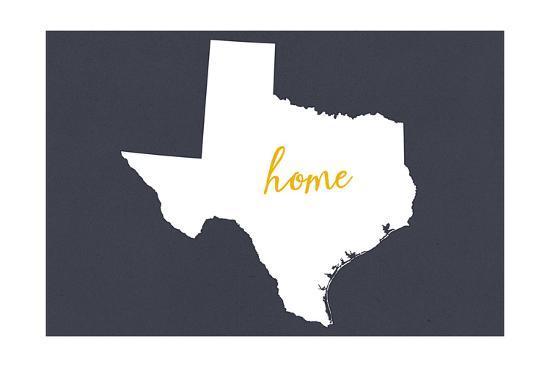 Texas - Home State - White on Gray-Lantern Press-Art Print