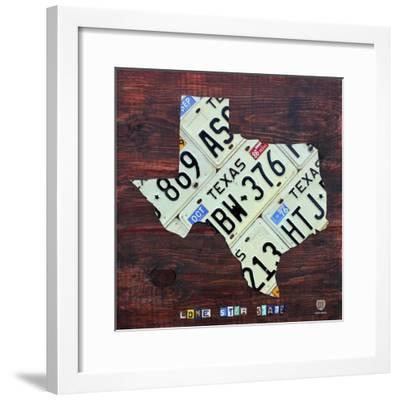 Texas License Plate Map Large-Design Turnpike-Framed Giclee Print