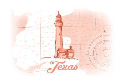 Texas - Lighthouse - Coral - Coastal Icon-Lantern Press-Art Print