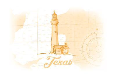 Texas - Lighthouse - Yellow - Coastal Icon-Lantern Press-Art Print
