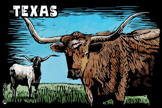 Texas - Longhorn - Scratchboard-Lantern Press-Wall Mural