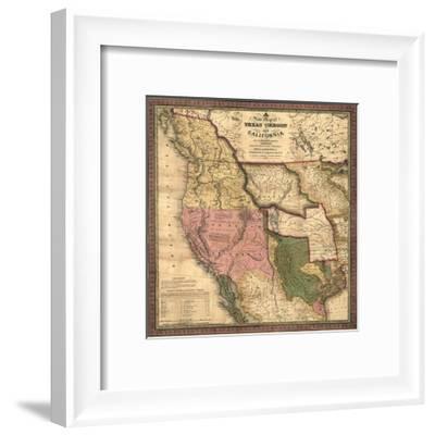 Texas, Oregon, and California - Vintage Map-Lantern Press-Framed Art Print