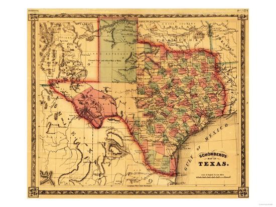 Texas - Panoramic Map-Lantern Press-Art Print
