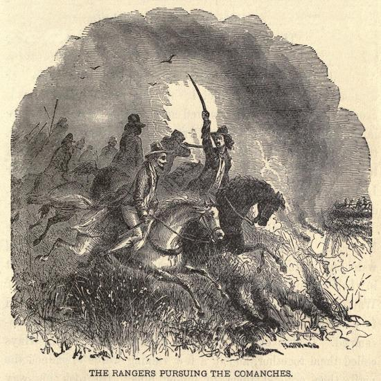 Texas Rangers Pursuing Comanches in 1850s--Art Print