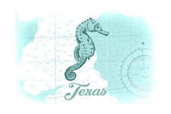 Texas - Seahorse - Teal - Coastal Icon-Lantern Press-Art Print