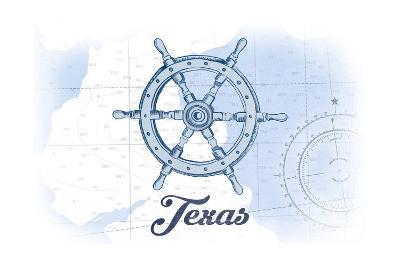 Texas - Ship Wheel - Blue - Coastal Icon-Lantern Press-Art Print