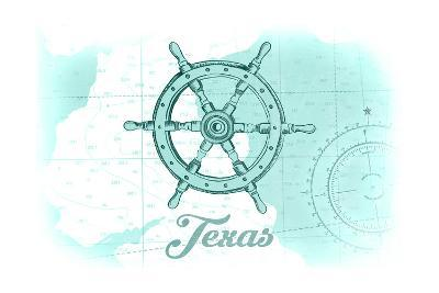 Texas - Ship Wheel - Teal - Coastal Icon-Lantern Press-Art Print
