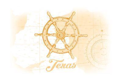 Texas - Ship Wheel - Yellow - Coastal Icon-Lantern Press-Art Print