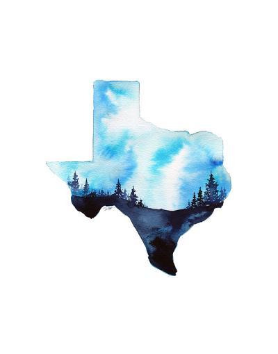 Texas State Watercolor-Jessica Durrant-Art Print
