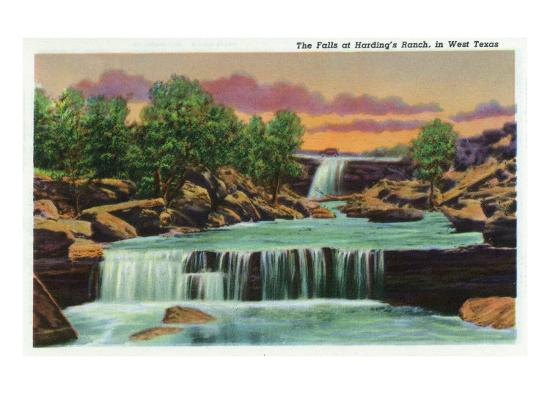 Texas - View of the Falls at Harding's Ranch in West Texas, c.1940-Lantern Press-Art Print