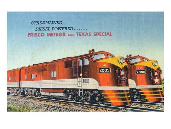 Texas - View of the Frisco Meteor and Texas Special Trains-Lantern Press-Art Print