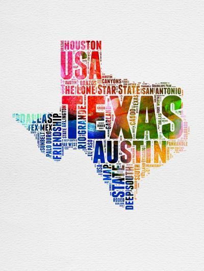 Texas Watercolor Word Cloud-NaxArt-Art Print