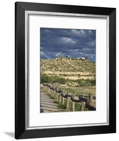 Texas, Western Themed Brewster County. Log Fence in Desert-Richard Nowitz-Framed Photographic Print