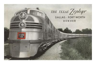 Texas Zephyr, Streamlined Train--Art Print