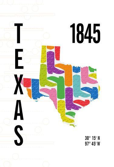 Texas-J Hill Design-Giclee Print