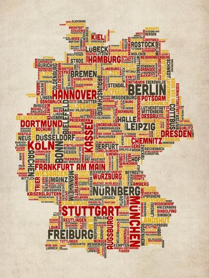 Map Of Germany To Print.Text Map Of Germany Map Art Print By Michael Tompsett Art Com