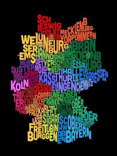 Text Map of Germany Map-Michael Tompsett-Art Print