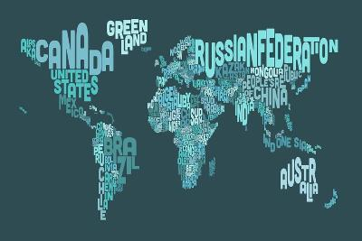 Text Map of the World Map-Michael Tompsett-Art Print