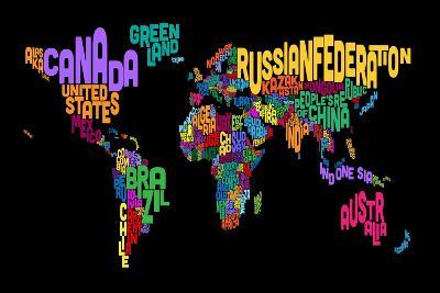 Text Map of the World Map-Michael Tompsett-Art Print