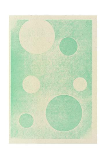 Textured Teal Circles--Art Print