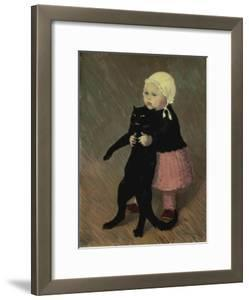 A Small Girl with a Cat, 1889 by Th?ophile Alexandre Steinlen