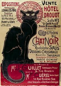 Poster Advertising an Exhibition of the Collection Du Chat Noir Cabaret at the Hotel Drouot, Paris by Th?ophile Alexandre Steinlen