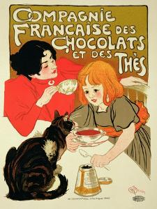 Reproduction of a Poster Advertising the French Company of Chocolate and Tea by Th?ophile Alexandre Steinlen