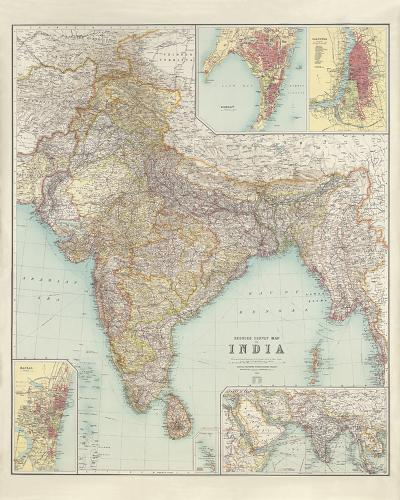 Thacker's Reduced Survey Map of India-John George Bartholomew-Giclee Print